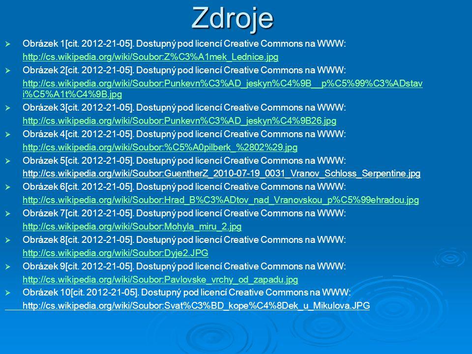 Zdroje Obrázek 1[cit. 2012-21-05]. Dostupný pod licencí Creative Commons na WWW: http://cs.wikipedia.org/wiki/Soubor:Z%C3%A1mek_Lednice.jpg.